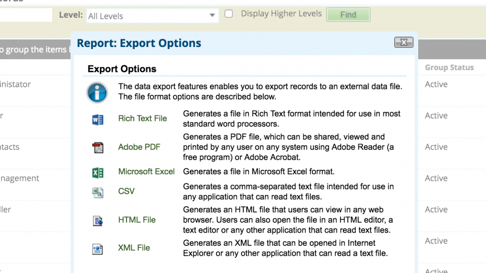 Custom iView – Exportable Reports with filters